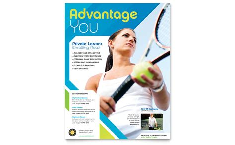 tennis club camp flyer template word publisher