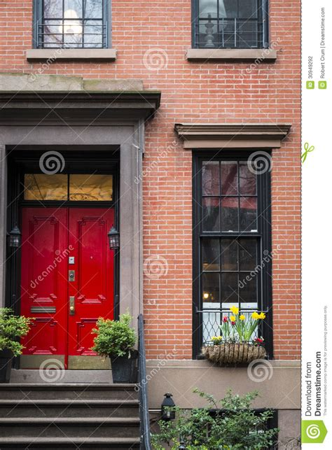 the door nyc door apartment building new york city stock photo