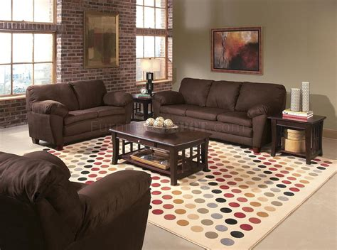 Brown Micro Suede Contemporary Living Room W/wooden Legs
