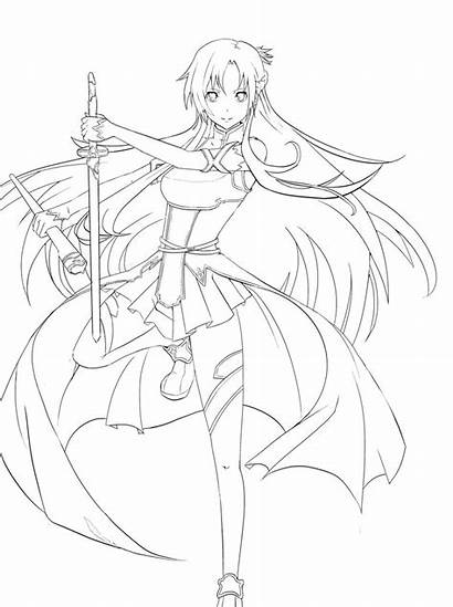 Coloring Sword Pages Asuna Drawings Lineart Sao