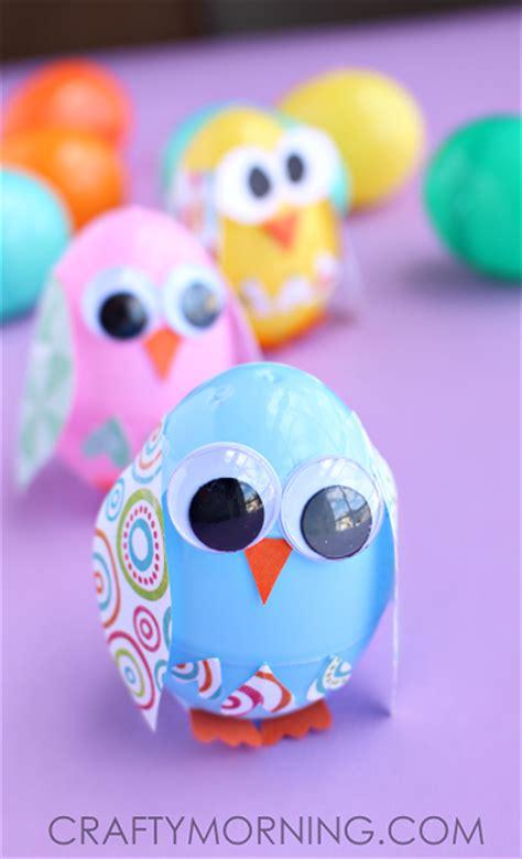 plastic easter egg owl craft  kids crafty morning