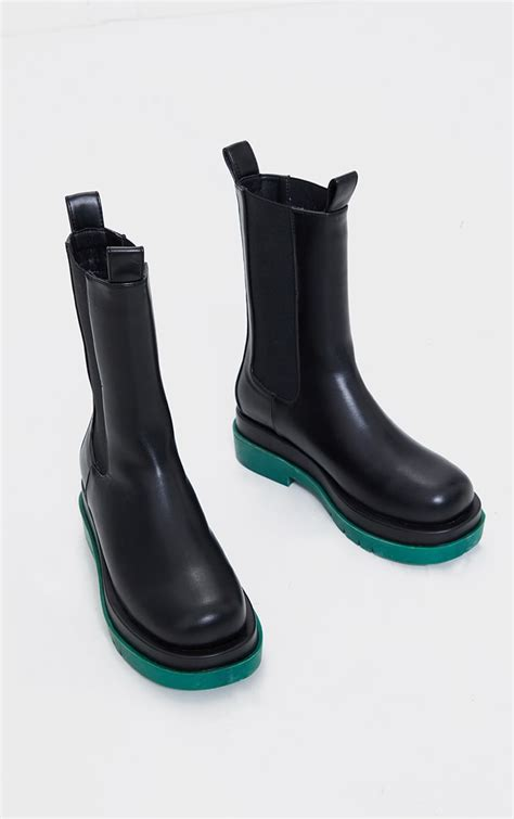Black Pu Contrast Sole Chunky Sole Chelsea Boots ...