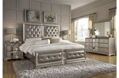 couture silver panel bedroom set  pulaski coleman