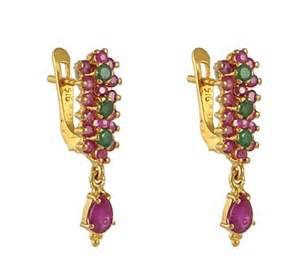 men earring 22kt gold ruby emerald earrings ajer51286 22k gold