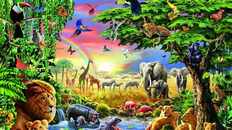 Forest Animals Live Wallpaper - forests giraffe tiger elephant animal bird butterfly