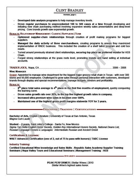sle of an executive resume