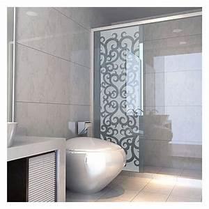 sticker paroi de douche depoli tourbillon baroque With porte de douche coulissante avec stickers occultant fenetre salle de bain