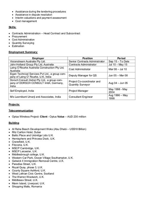 Contract Administrator Cv by Ganesh Golande Cv Senior Contracts Administrator