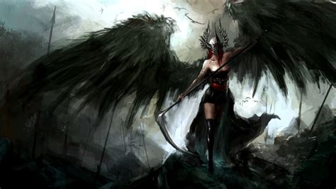 angel wings scythe dark spear helmet reapers hd