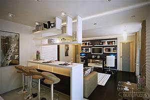 White open plan kitchen lounge interior design ideas for Interior design for small living room with open kitchen