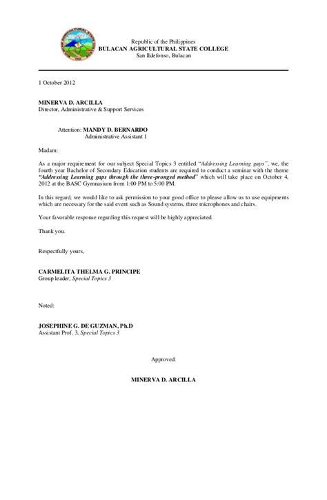 Communication letter for venue