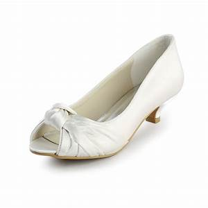 satin low heel peep toe sandals wedding shoes with bowknot With low heel dress shoes for wedding