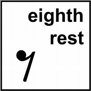 Clip Art: Music Notation: Eighth Rest B&W Labeled I ...