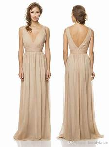 simple and perfect tan bridesmaid dress chiffon v neck With tan colored wedding dresses