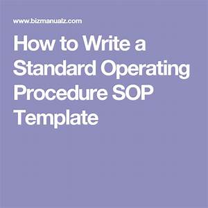 Writing Standard Operating Procedures  Writing Sop  With