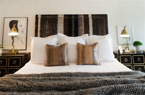 Faux Fur Headboard by Python Pillows Eclectic Bedroom Sally Wheat Interiors