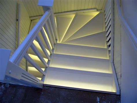 white stairs with led lights by puupaja lumberjocks
