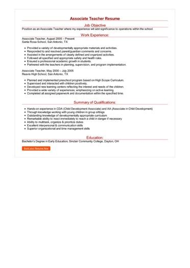 associate teacher resume great sample resume
