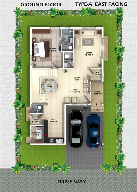 Villa Home Plans by Myans Villas Type A East Facing Villas