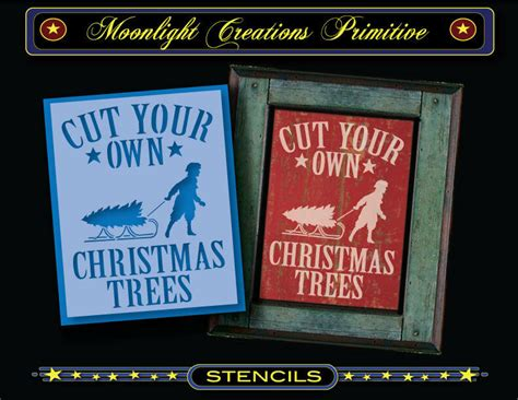 primitive stencil vintage style cut your own trees sled fashion ebay