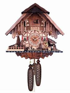 Engstler, Chalet, Style, Eight, Day, Cuckoo, Clock, With, Shepherd, Raising, His, Staff