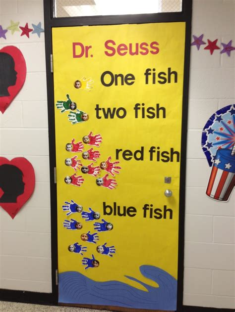 Dr Seuss Door Decorating Ideas by Dr Seuss Quot One Fish Two Fish Fish Blue Fish Quot Door
