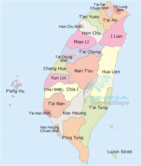 taiwan political map taiwan districts map taiwan