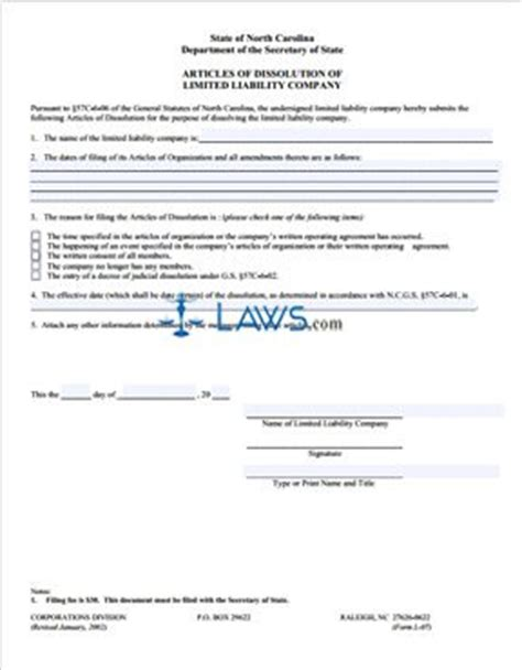 north carolina legal name change form form l 07 articles of dissolution north carolina forms
