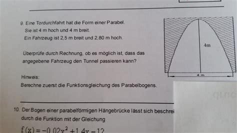 quadratische funktion tunnel torduchfahrt fuer fahrzeug