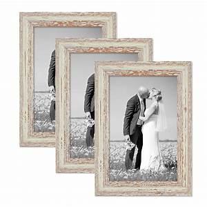 Bilderrahmen Vintage Set : 3er set vintage bilderrahmen 20x30 cm weiss shabby chic massivholz mit glasscheibe und zubeh r ~ Buech-reservation.com Haus und Dekorationen