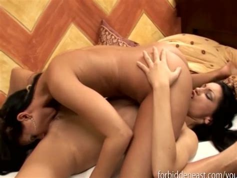 Asian Lesbian Babes Cum Together After Hot Steamy Lesbian