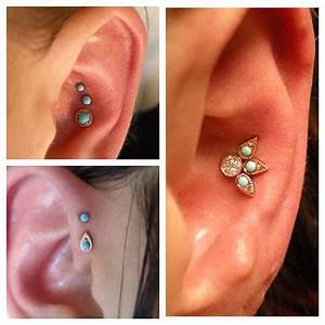unique piercings: triple conch with turquoise jewelry ...