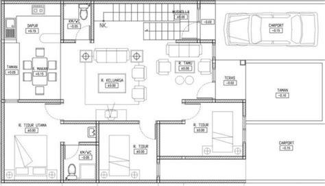 denah rumah  kamar tidur  mushola desain rumah minimalis