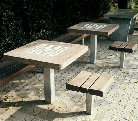 chess and draughts table benches with tables from burri