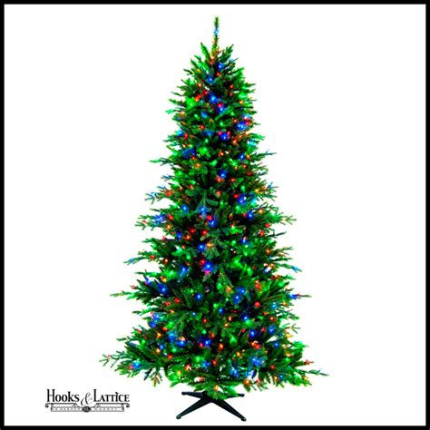 pre lit artificial pine tree with multi colored lights
