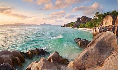 Sunset Beach Palm Trees Seychelles Tropical Summer
