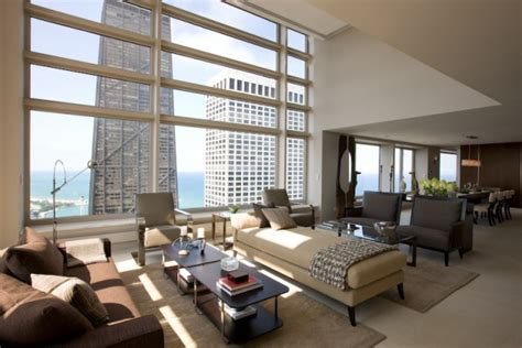 modern in chicago contemporary penthouse apartment in chicago with custom furniture and a neutral color palette