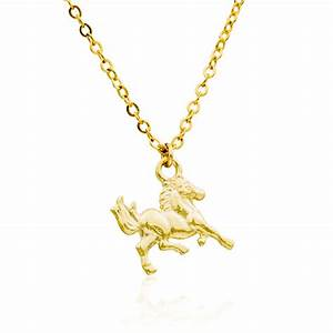 Gold Filled 14K necklace Horse pendant handmade jewelry ...
