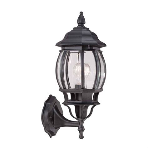 hton bay 1 light black outdoor wall lantern hb7027 05