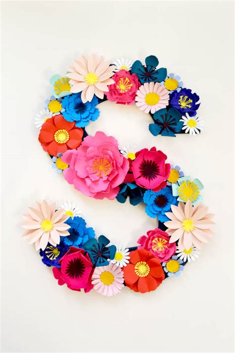 Handmade Paper Decorations Ideas - handmade paper flower initial by may contain glitter