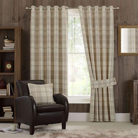 highland check natural lined eyelet curtains highland