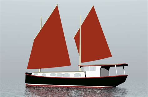 steel sailing house barge sail boat designs  tad