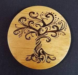 Handmade, Tree, Of, Life, Wood, Burned, Coasters