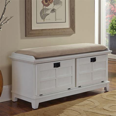 White Wood Storage Bench by Hallway Shoe Storage Bench With Cushion