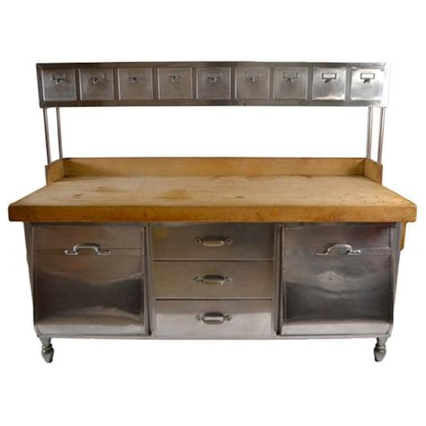 kitchen island prep table industrial stainless steel and wood kitchen work station 5139