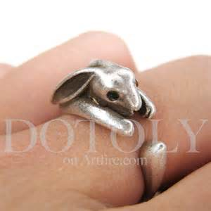 allergy earrings miniature bunny rabbit ring in silver sizes 4 to 9