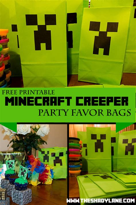 printable minecraft creeper party bags bear hugs