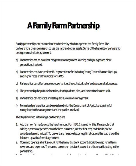 Farm Partnership Agreement Template by 49 Exles Of Partnership Agreements