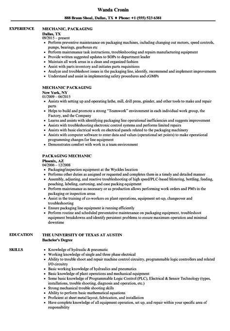 Resume For Packaging by Packaging Mechanic Resume Sles Velvet
