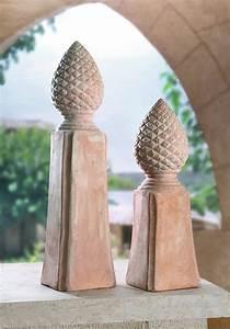 Terracotta Töpfe Groß : dekoleidenschaft terracotta s ule pinienzapfen gro ca 40cm hoch garten terrasse zapfen deko ~ Eleganceandgraceweddings.com Haus und Dekorationen